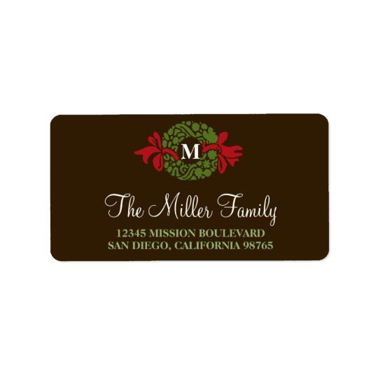 Monogram green wreath brown holiday return address address label