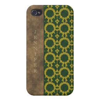 Monogram green yellow leather snake effect iPhone 4/4S cover