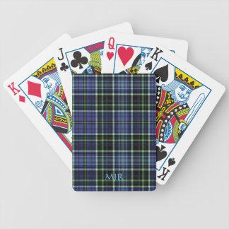 Monogram Greens Blues Scottish-style Tartan Plaid Bicycle Playing Cards