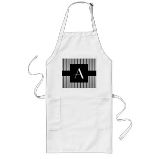 Monogram grey and black stripes apron