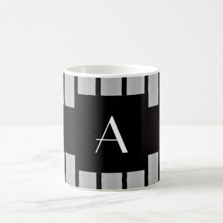 Monogram grey and black stripes coffee mug