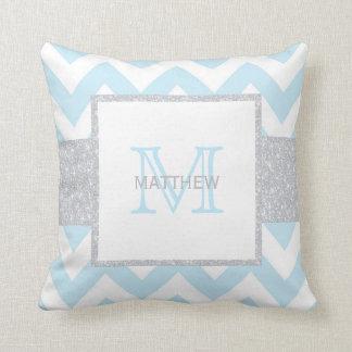 Monogram Grey Blue Chevron Baby Boy Pillow