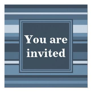 Monogram grey-blue stripes 13 cm x 13 cm square invitation card
