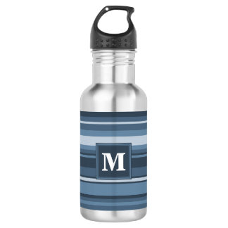 Monogram grey-blue stripes 532 ml water bottle