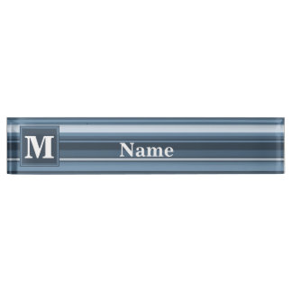 Monogram grey-blue stripes name plate