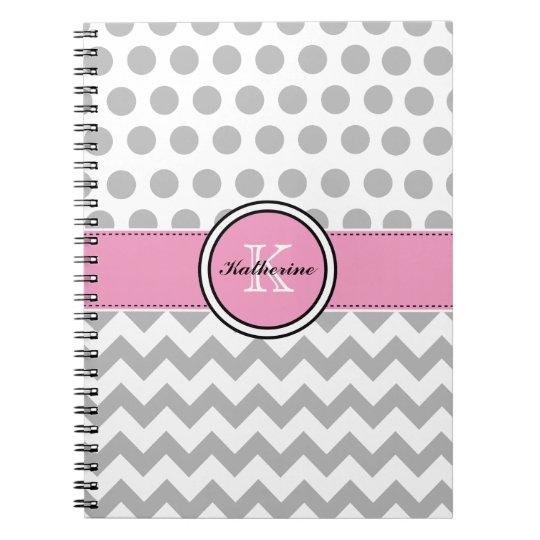 Monogram Grey Chevron and Pink Spiral Notebook