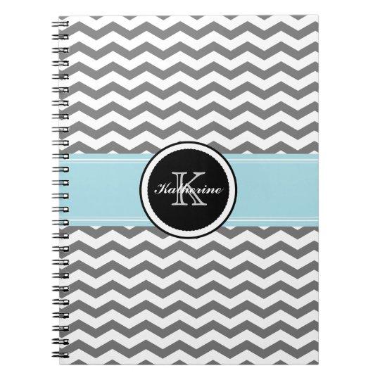 Monogram Grey Chevron Spiral Notebook