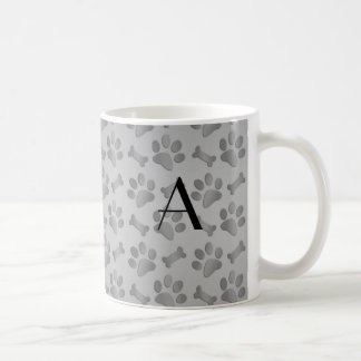 Monogram grey dog paw prints coffee mug
