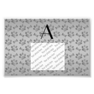 Monogram grey dog paw prints photo print