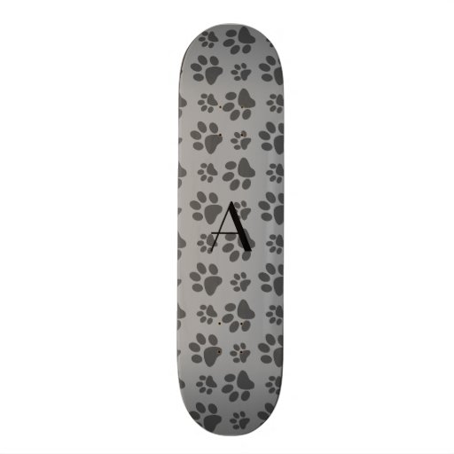 Monogram grey dog paw prints skate board