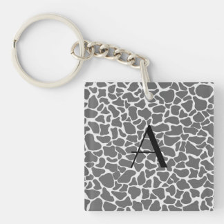 Monogram grey giraffe print keychain