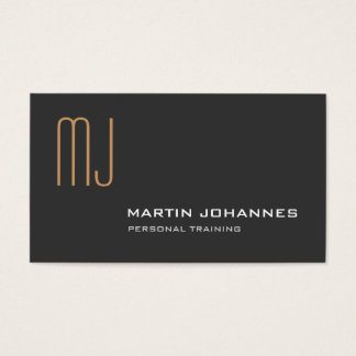Monogram Grey Personal Trainer Business Card
