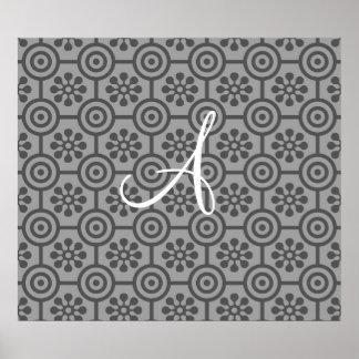 Monogram grey retro flowers and circles poster