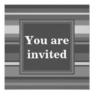 Monogram grey stripes 13 cm x 13 cm square invitation card