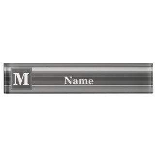 Monogram grey stripes name plate