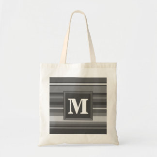 Monogram grey stripes tote bag