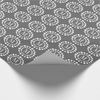 Monogram Grey Wrapping Paper