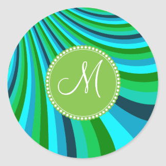 Monogram Groovy Blue Green Rainbow Slide Stripes Classic Round Sticker