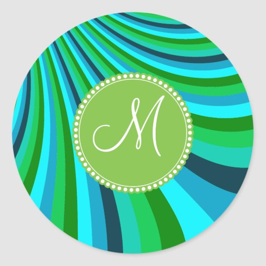 Monogram Groovy Blue Green Rainbow Slide Stripes Classic Round Sticker