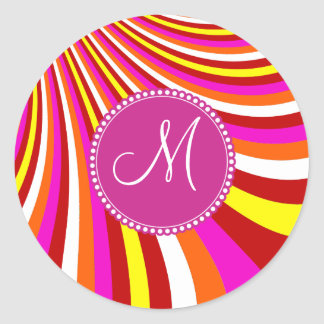 Monogram Groovy Hot Pink Red Yellow Orange Stripes Round Sticker