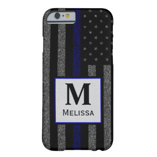 Monogram Grunge Thin Blue Line Flag Barely There iPhone 6 Case