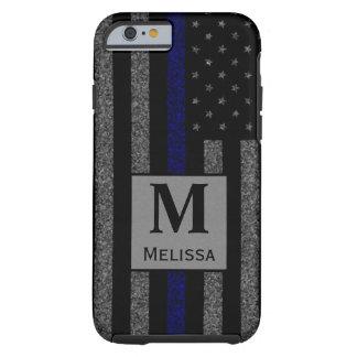 Monogram Grunge Thin Blue Line Flag Tough iPhone 6 Case