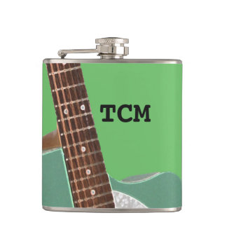 Monogram - guitar on green flask