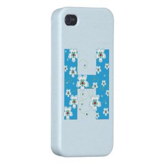 Monogram H blue floral hibiscus iphone 4 case