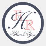 Monogram H Coral and Navy Wedding Thank You Round Sticker