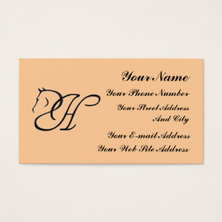 Monogram H Horse Equestrian Classic Business Card