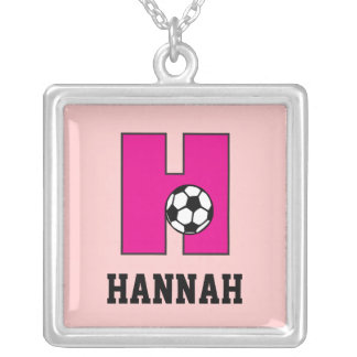 Monogram H in Soccer Pink Silver Plated Necklace