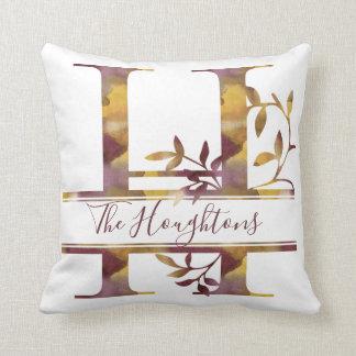Monogram H - Watercolor - Personalised Cushion