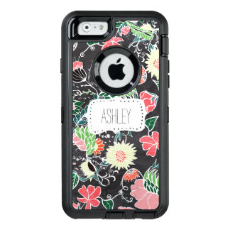 Monogram hand drawn floral pattern chalkboard OtterBox defender iPhone case
