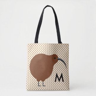 Monogram. Hand drawn Forest Animal. Kiwi. Tote Bag