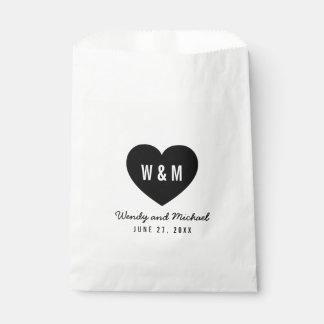 Monogram Heart Modern Wedding Favour Bags