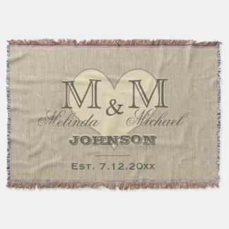 Monogram Heart | Rustic Linen Look Throw Blanket