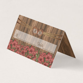 Monogram Heart with Dusty Rose Lily | Place Cards