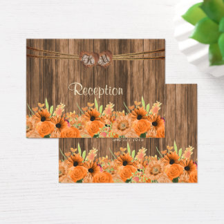 Monogram Heart with Oranges Floral  - Reception Business Card
