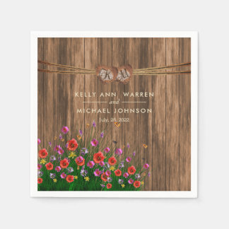 Monogram Heart with Spring Wildflowers Paper Napkin