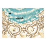 Monogram Hearts on the Beach Place Card