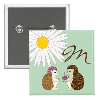 Monogram Hedgehog Button