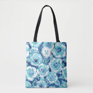 Monogram HIBISCUS BOUNTY Blue Tropical Hawaiian Tote Bag