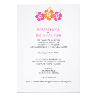 Monogram Hibiscus Flower Wedding Card