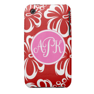 Monogram Hibiscus Flowers Case-Mate iPhone 3 Case