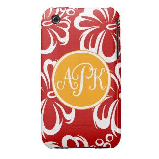 Monogram Hibiscus Flowers iPhone 3 Case-Mate Cases