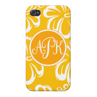 Monogram Hibiscus Flowers Covers For iPhone 4