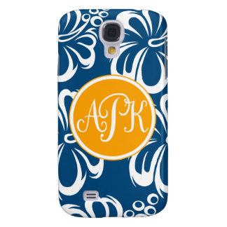 Monogram Hibiscus Flowers Galaxy S4 Case