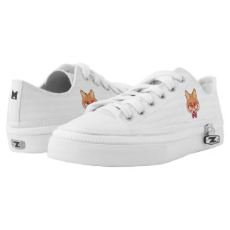 Monogram. Hipster Fox with Fancy Pink Bow. Printed Shoes