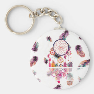 Monogram Hipster Watercolor Dreamcatcher Feathers Basic Round Button Key Ring