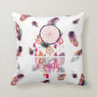Monogram Hipster Watercolor Dreamcatcher Feathers Cushion